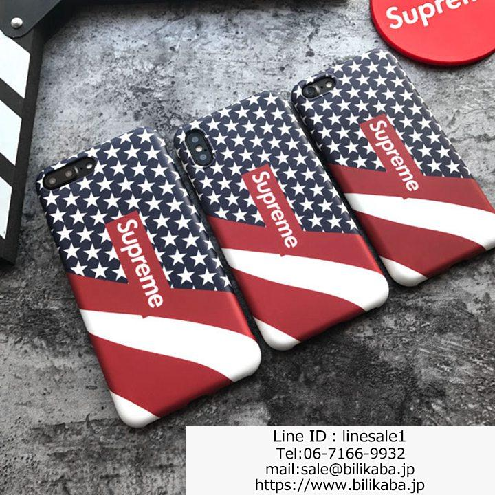 アメリカ風 supreme iphoneXケース