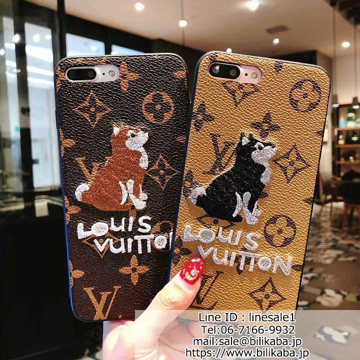 ルイヴィトン iPhoneXケース 柴犬刺繍