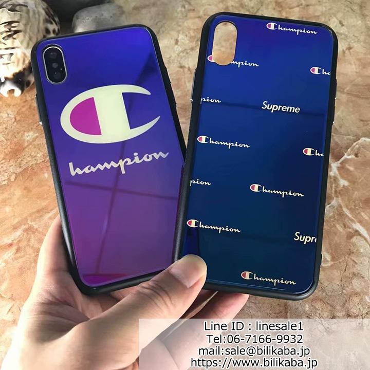 チャンピオン iphoneXケース 背面ガラス