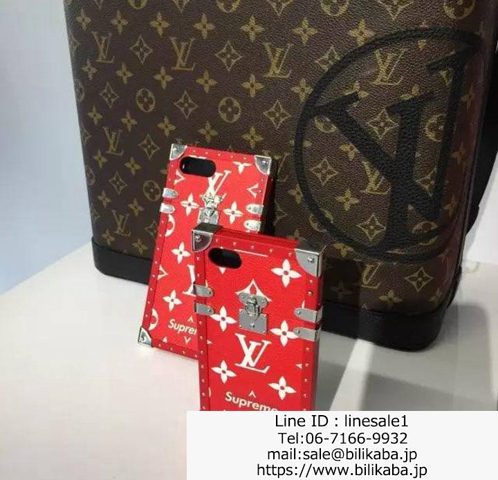 lv supreme iphone8 ケース レッド
