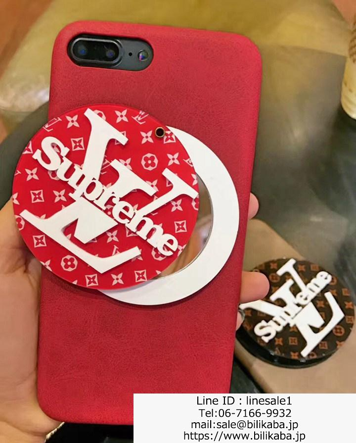 LV Supreme iPhone8 plusケース 化粧鏡付き