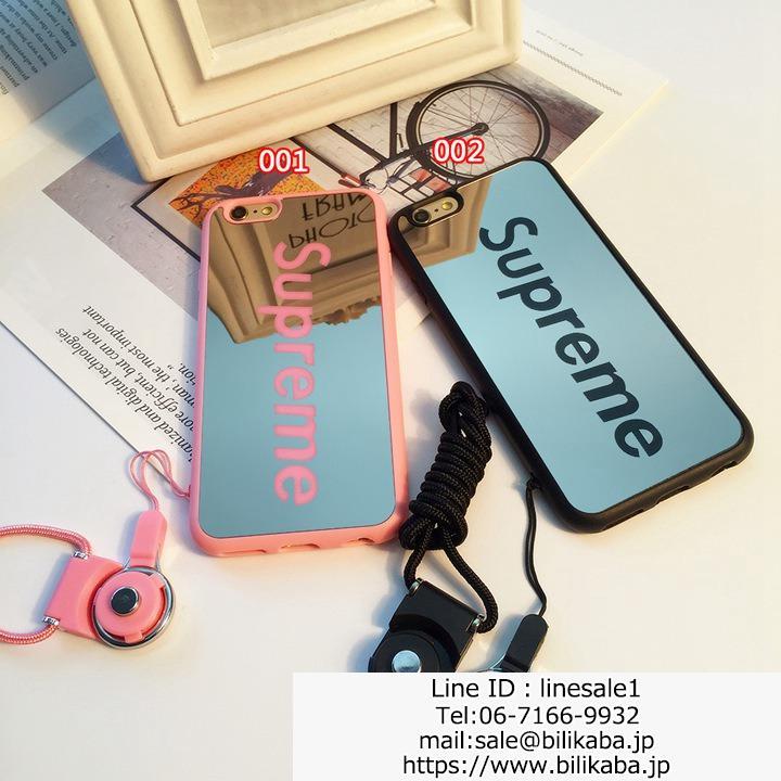 supreme iphone8ケース チェーン付き 鏡面