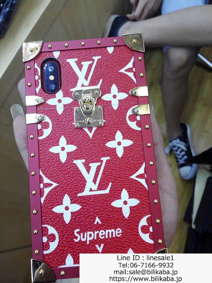 lv supreme iPhone Xケースお洒落