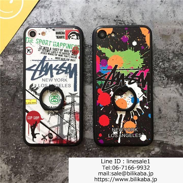 stussy iphone8ケースホールドリング付き